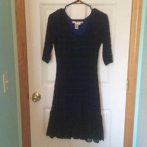 Blue and Black Lace Dress, Medium